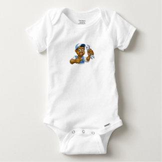 Mecánico o manitas negro del fontanero del dibujo body para bebé