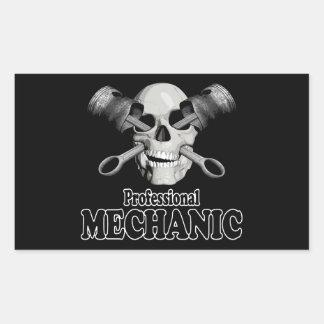 Mecánico profesional pegatina rectangular