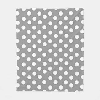 _Med_Fleece_Blanket de Polka-Dots__Silver-White Manta Polar