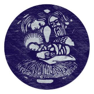 Medallón de la prensa de copiar de la natividad invitación 13,3 cm x 13,3cm