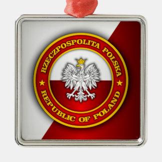 Medallón polaco adorno navideño cuadrado de metal