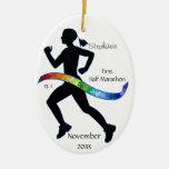 Media cinta del rompecabezas del corredor de marat ornamento de navidad