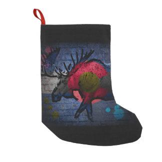 Media del día de fiesta de los alces de la pintada calcetín de navidad pequeño