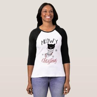 Media del gatito del navidad de Meowy de la camisa