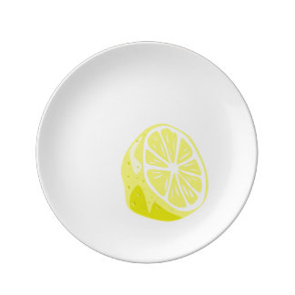 Media placa de la porcelana del limón plato de porcelana