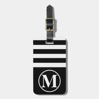 Media raya con monograma etiquetas para maletas