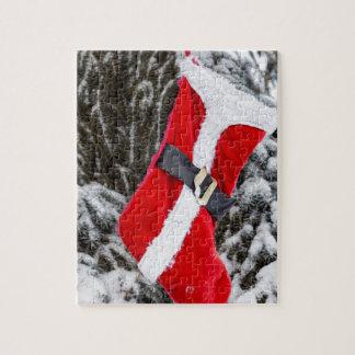 Media roja brillante de Santa Puzzle