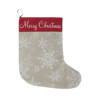 Media roja del copo de nieve del navidad calcetín de navidad grande
