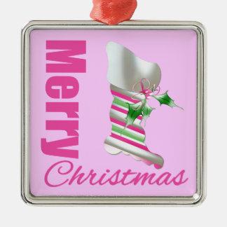 Media rosada de las Felices Navidad Adorno Cuadrado Plateado