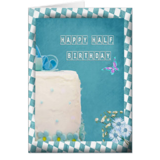 Media torta de cumpleaños feliz tarjeta de felicitación