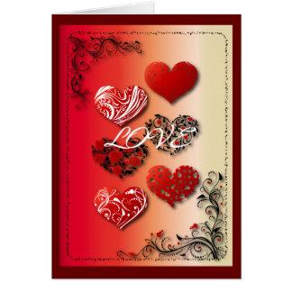 Medias docenas corazones y volutas tarjeta de felicitación