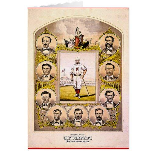 Medias rojas de Cincinnati de 1869 Tarjetón