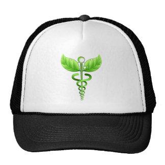 Medicina alternativa del símbolo médico verde del gorras