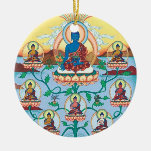 Medicina DE CERÁMICA Buda del ORNAMENTO + 8 Med.Bu Ornamente De Reyes