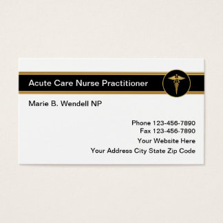 Médico agudo de la enfermera del cuidado tarjeta de visita