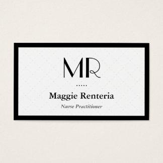Médico de la enfermera - monograma elegante limpio tarjeta de negocios