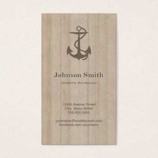 Médico de los deportes - madera náutica del ancla tarjeta de negocios