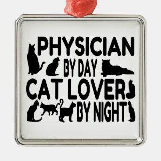 Médico del amante del gato adorno navideño cuadrado de metal