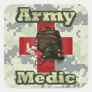 Médico del ejército pegatina cuadrada