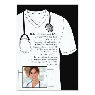 Médico friega la invitación blanca de la invitación 12,7 x 17,8 cm