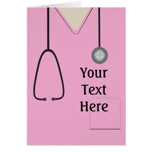 Médico friega personalizado rosado de la enfermera tarjetón