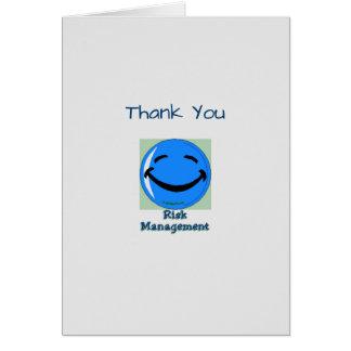 Médico gracias gestión de riesgos tarjeta de felicitación