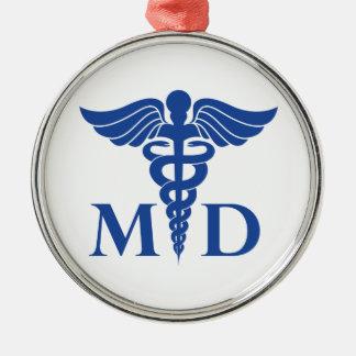 Médico ornamento adorno navideño redondo de metal