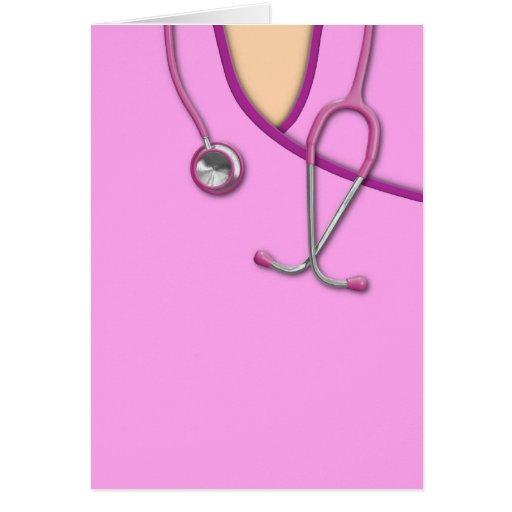 Médico rosado friega felicitación