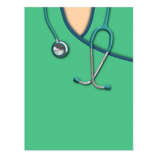 Médico verde friega postales