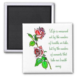 Medida de los rosas de vida imán cuadrado