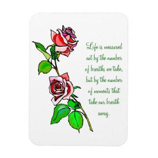 Medida de los rosas de vida imanes rectangulares