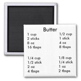 Medidas de la mantequilla imán cuadrado