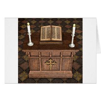 Medieval altere y biblia tarjeta de felicitación