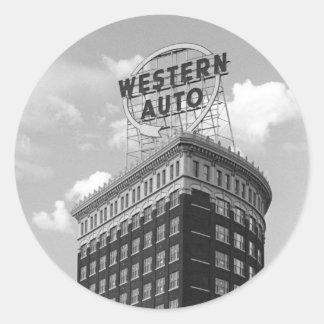 Medio edificio auto occidental del cilindro etiqueta redonda