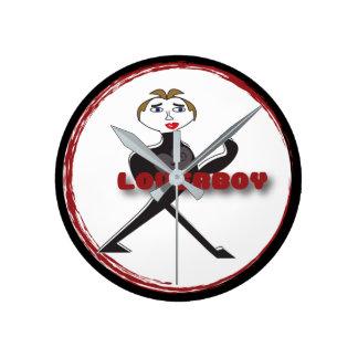 (Medio) LOGOTIPO redondo del CÍRCULO de LOVERBOY Reloj Redondo Mediano