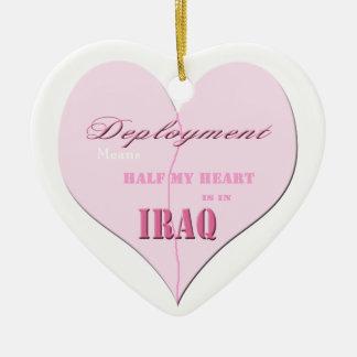 Medio ornamento rosado de Iraq del despliegue del Adorno Navideño De Cerámica En Forma De Corazón