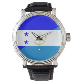 medio símbolo del país de la bandera de Honduras Reloj De Pulsera