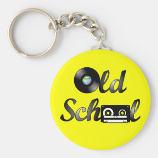 Medios de la música de la escuela vieja (amarillo) llavero redondo tipo chapa