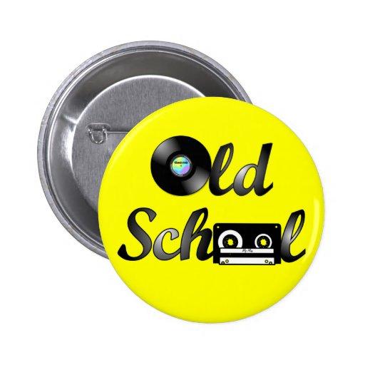 Medios de la música de la escuela vieja redondos ( pin