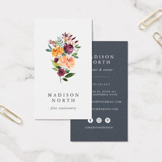 Medios sociales verticales florales de la tarjeta de visita