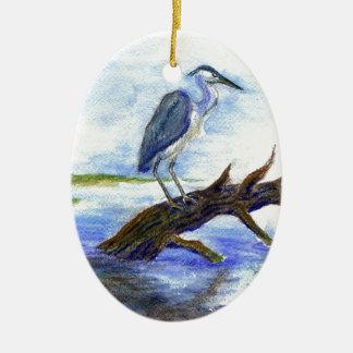 Meditación de la garza - lápiz de la acuarela ornamento de navidad