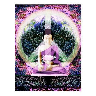 Meditación y rezos de la paz de mundo postales