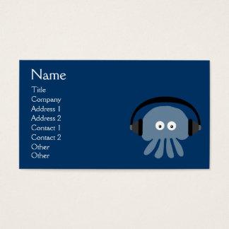 Medusas azules enrrolladas DJ con los auriculares Tarjeta De Negocios