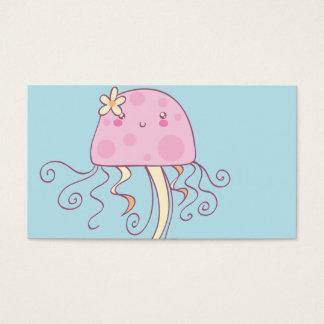 Medusas azules rosadas lindas del dibujo animado tarjeta de negocios