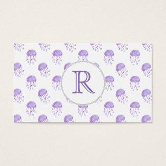 medusas de la púrpura de la acuarela tarjeta de negocios