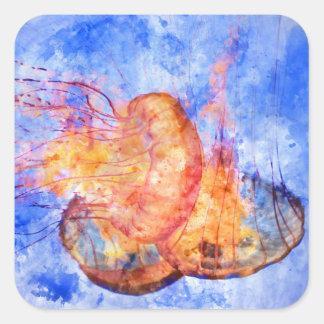 Medusas en la acuarela del océano pegatina cuadrada