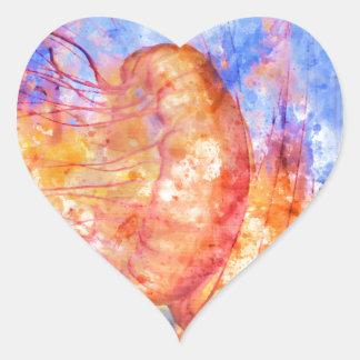 Medusas en la acuarela del océano pegatina en forma de corazón