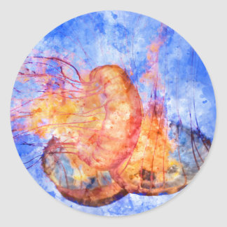 Medusas en la acuarela del océano pegatina redonda