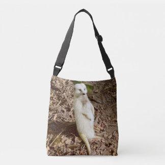 Meerkat blanco sonriente soleado, la bolsa para