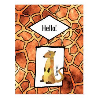 Meerkat en modelo exótico de la piel de la jirafa postal